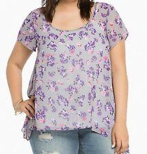 Torrid Floral Print Chiffon Sharkbite Top Blouse Grey Purple  1 14 16 1X #79598