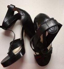 * Pre-Owned d&g Cuir Noir Bride Cheville Plateforme Talons UK 7 UE 40 *