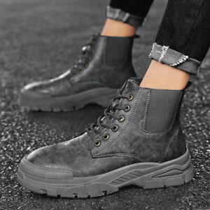 Mens High Top Ankle Riding Boots Lace Up Casual Round Toe Knight Outdoor Boots