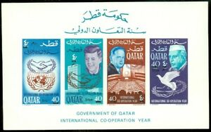 EDW1949SELL : QATAR 1966 JFK Imperf Souvenir Sheet Overprint with New Currency.