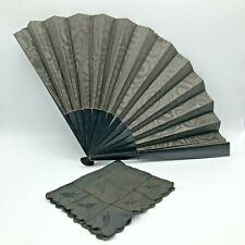 Lot Two 19th c. Lady's Black Mourning Items-Fabric Hand Fan & Silk Handkerchief