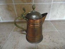 "Vintage Hammered Brass & Copper 6 1/2"" Tall Coffee Pot w/ Flip Lid"