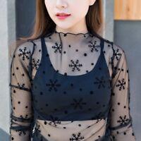 Women Fashion Mesh Sheer Long Sleeve T-Shirt See-through Cover Up Blouse Tops
