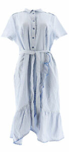 Isaac Mizrahi Seersucker Shirt Dress Ruffle Blue 10 NEW A305234
