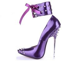 Women's Stiletto High Heel Rivet Ankle Strap 16cm Pointed Toe Ankle Boots Shoes