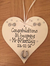 Personalised plaque wedding day favour congratulations Mr & Mrs Newlywed gift