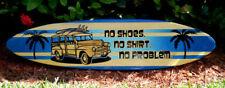 Woody No Problem Wood Surfboard Wall Art Sign Horizontal Ocean Blue Beach Decor