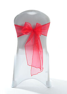100 Red Sparkle Chair Cover Organza Sash Bow  sale Wedding Party UK