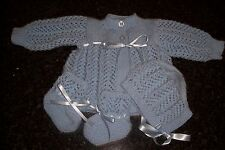 PURE WOOL BOY'S CARDIGAN STYLE JACKET,BONNET & BOOTEE'S [ HAND KNITTED ]