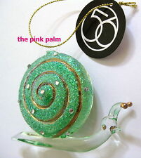 DEPT 56 Deck The Shores Green Glass SNAIL Tropical Ornament NEW NWT