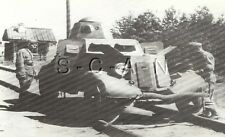 WWII Large Press Photo- German Captured Russian Tank- Railroad Armored Car- 1941