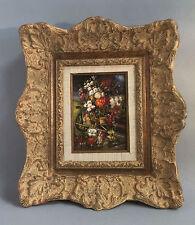 """Peinture / huile sur bois """"bouquet de fleurs"""""""