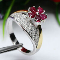 NATURAL HEATED RED THAILAND RUBY & WHITE CZ RING 925 STERLING SILVER