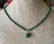 4mm grüne Malachit Halskette Anhänger (12mm), 17inch