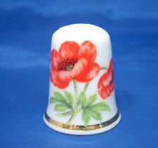 Birchcroft China Thimble -- Flowers -- Poppy -- Free Dome Box