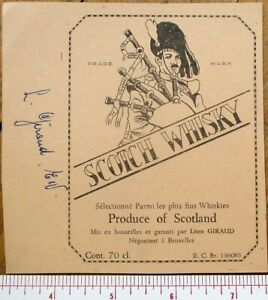 Printer's Proof 1930s Whisky Bottle Label: Scotch Whisky - Bagpipes