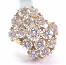 Exquisite Round Cut Diamond Cluster Yellow Gold Jewelry Ring 14KT 5.00Ct