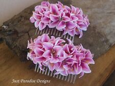 Hair Comb - Hair Slide - Mini Lilly - Pink  - You GET 2 Combs - Weddings