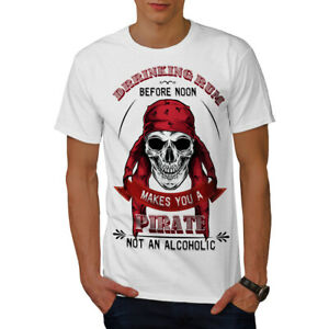 Wellcoda Pirate Skull Rum Mens T-shirt, Drinking Graphic Design Printed Tee