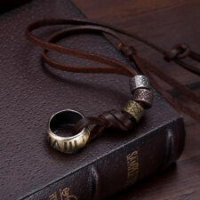 Punk Genuine Leather Necklace Circle Ring Charm Pendant Cord For Men Women Chain