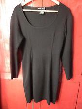 KOOKAI : Robe noire droite en laine, grand col rond, taille 42