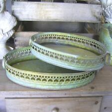 Set of Two Deco Tray Metal Antique Patina Nostalgia Country House Style NEW