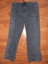EDDIE BAUER womens jeans Utility pockets full cut legs size 10 ec dark wash fade