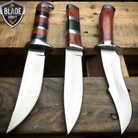 "3PC 10"" Hunting Survival Skinning Bowie KNIFE Camping Fishing Blade + Sheath NEW"