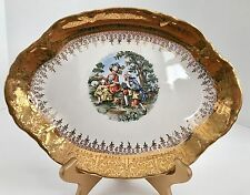 "Vintage Radisson W.S. George 10 1/2"" 22 Kt Gold Inlay Serving Platter"