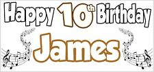 Musical Notes 10th Birthday Banner X2 Party Decorations Boys Girls Kids ANY NAME
