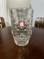 Spaten Munchen GS Heavy Dimpled Clear Glass Beer Stein Mug