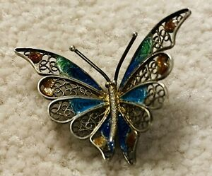 Ex rare antique ENAMEL BUTTERFLY Button, Ca. Early 1900s,
