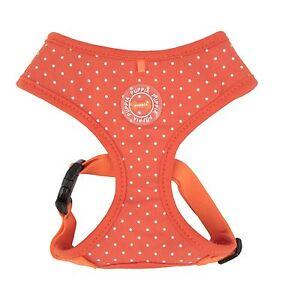 Puppia - Dog Puppy Soft Harness - Dotty ll - Orange w White Dots - XS, S, L