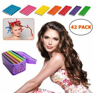 42pc Twist Flex Flexi Bendy Roller Rods Foam Hair Curlers No Heat Styling Tool
