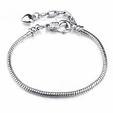 Fashion Copper Base Silver plated Snake Chain Screw Bracelet Fit European Charms