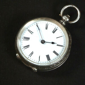 1885 English Pocket Watch Barker Co London Antique 925 Sterling Silver Vintage
