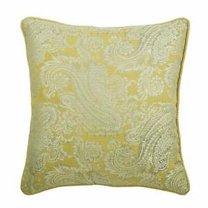 20x20 inch Designer Yellow Pillow Cover, Jacquard - Paisley Yellow Scents