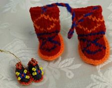 Vintage Miniature Moccasins Leather Seed Bead and Knit Boots Mukluks