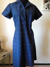 PUR VINTAGE robe ecossaise bleu carreau année 70 taille 42/44 ? B2
