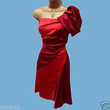 Karen Millen Red 2 Tone Colour Block One Shoulder Cocktail Christmas Dress 10 UK