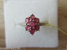 Ruby Ring Platinum Overlay Sterling Silver Size 5,6,7,8,9 Option