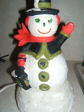Vintage 1969 Holland Mold lighted 2 piece #B Holiday Snowman working
