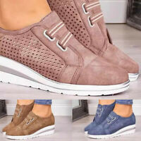 Women Casual Shoes Breathable Slip-on Platform Hidden Wedge Heel Sneakers Loafer