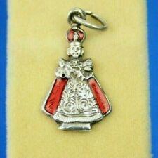 Vintage Old Silver & Red Enamel Italian Pope Pontiff Bishop Decorative Charm