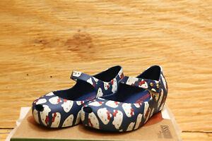 MINI Melissa Ultragirl + Hellokitty BLUE&WHITE Mary Jane shoes(US toddle size 7)