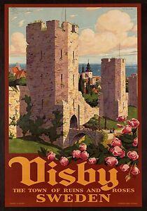 MAGNET Travel Poster Photo Magnet VISBY SWEDEN Castles Rose Roses