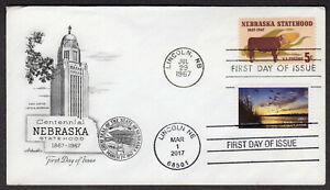 2017/1967 Nebraska Statehood 150th/100th - Artmaster DUAL FDC Wrf220