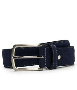 Fashion modern belt on vegan suede with square sleek silver buckle & tapered tip