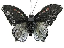 Hairy Scary Black Silver Glitter X Large Kahlovera Skull Butterfly Hair Clip