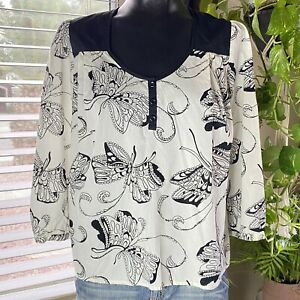 Anthropologie $88 BUTTERFLIES TOP Blouse by Girls from Savoy SZ 6